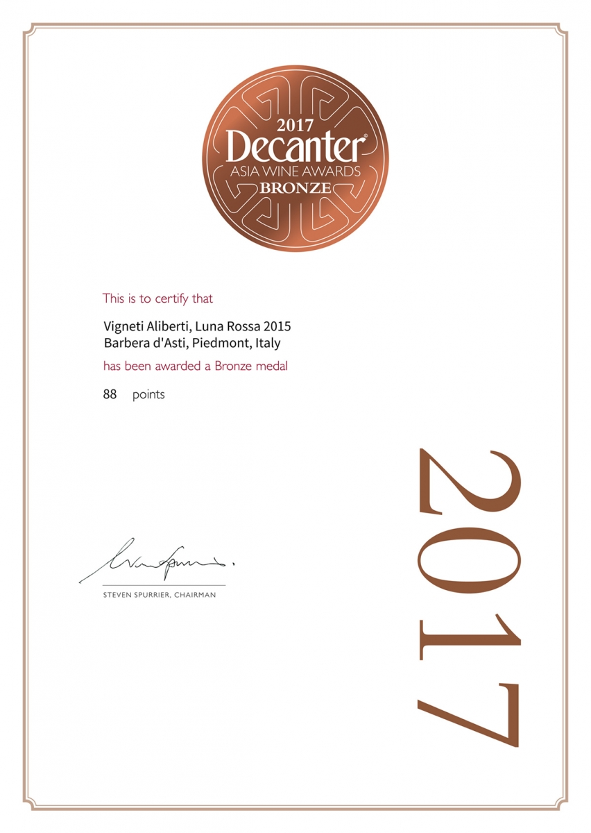 Bronze - Decanter - Asia Wine Award 2017 - Luna Rossa 2015