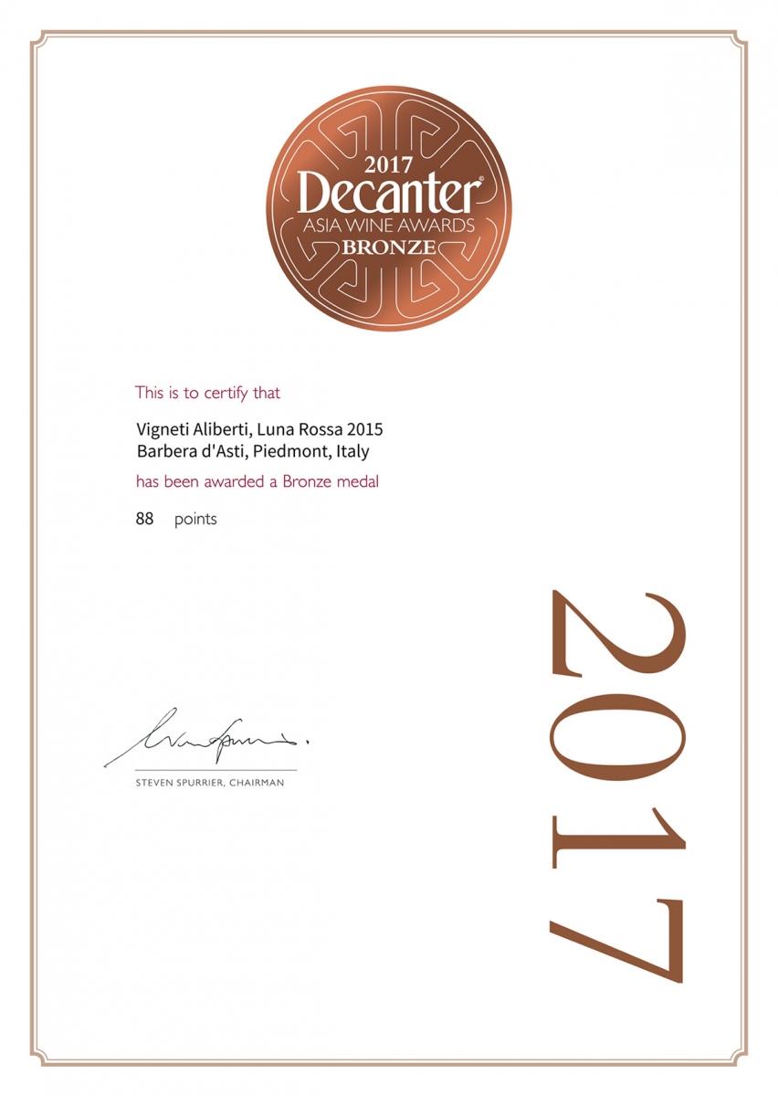 Bronze - Decanter - Asia Wine Award 2017 - Luna Rossa 2015