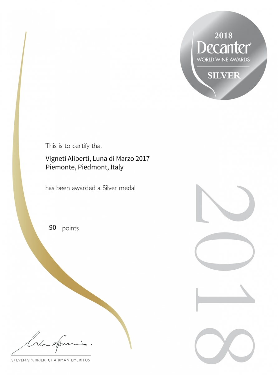 Silver - Decanter - World Wine Award 2017 - Luna di Marzo 2017