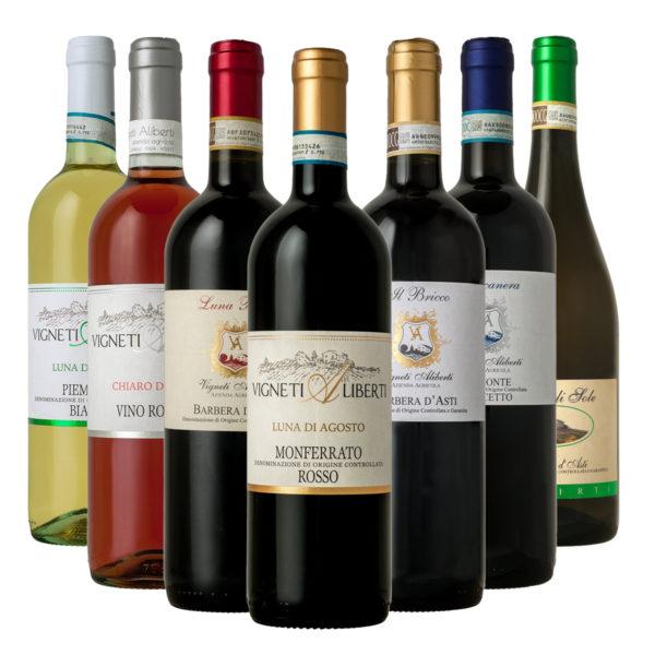 set 7 bottiglie miste vigneti aliberti canelli